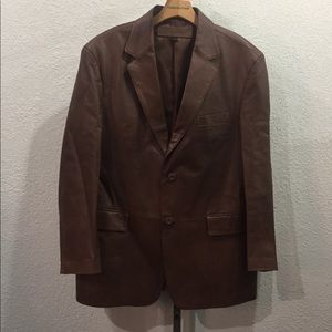 Stafford Mens Blazer Brown Two Button Leather